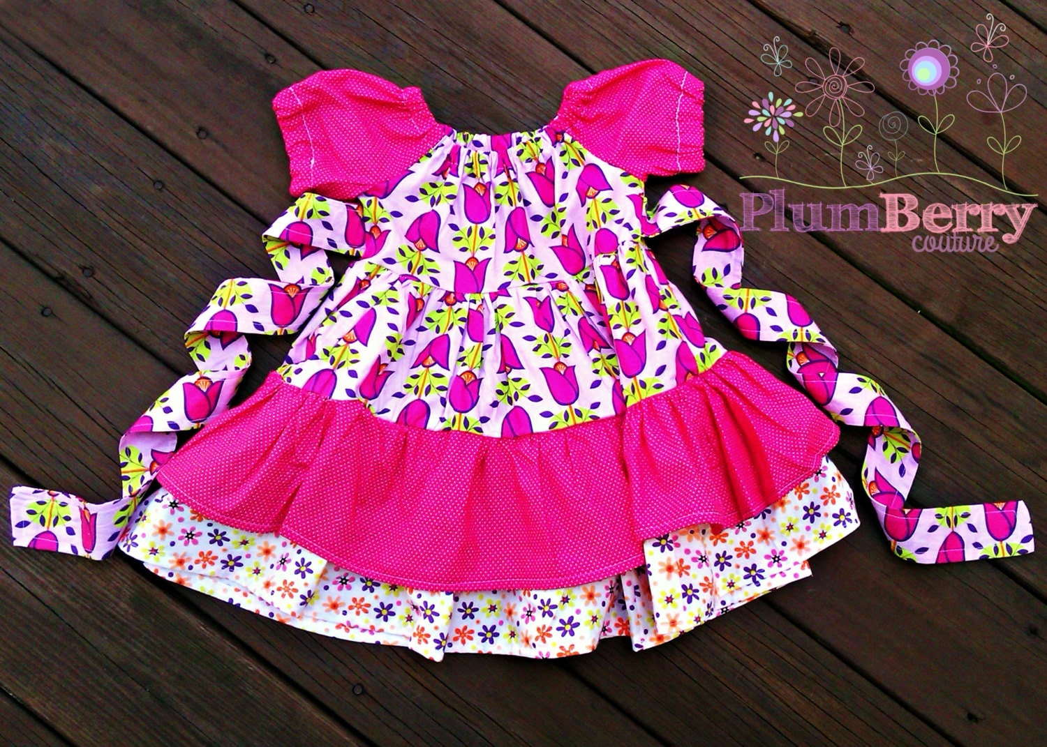 "Girls'  ""Garden Party"" Peasant Dress Sizes 6-8 - PlumberryCouture"