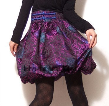 Purple Embroidered Silk Brocade Puff Skirt High Waisted Multicolour Bubble Hem FREE SHIPPING International