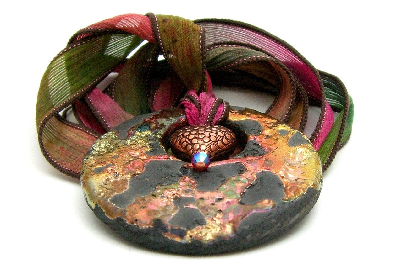 Flames Raku Pendant Raku Ceramic Jewelry Handmade by MAKUstudio