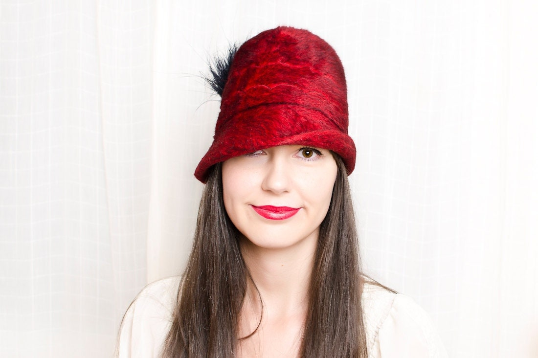 Picture of a woman wearing a stylish red hat