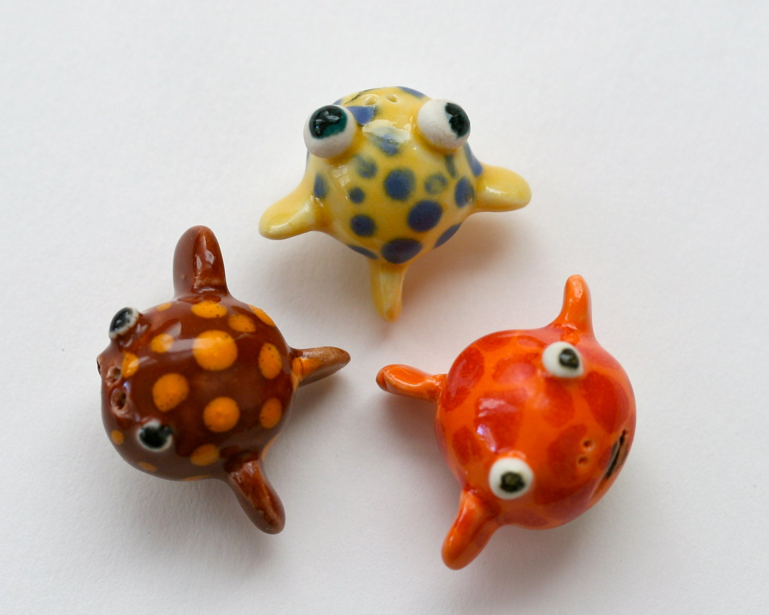 Items similar to miniature puffer fish figurines on etsy for Mini puffer fish