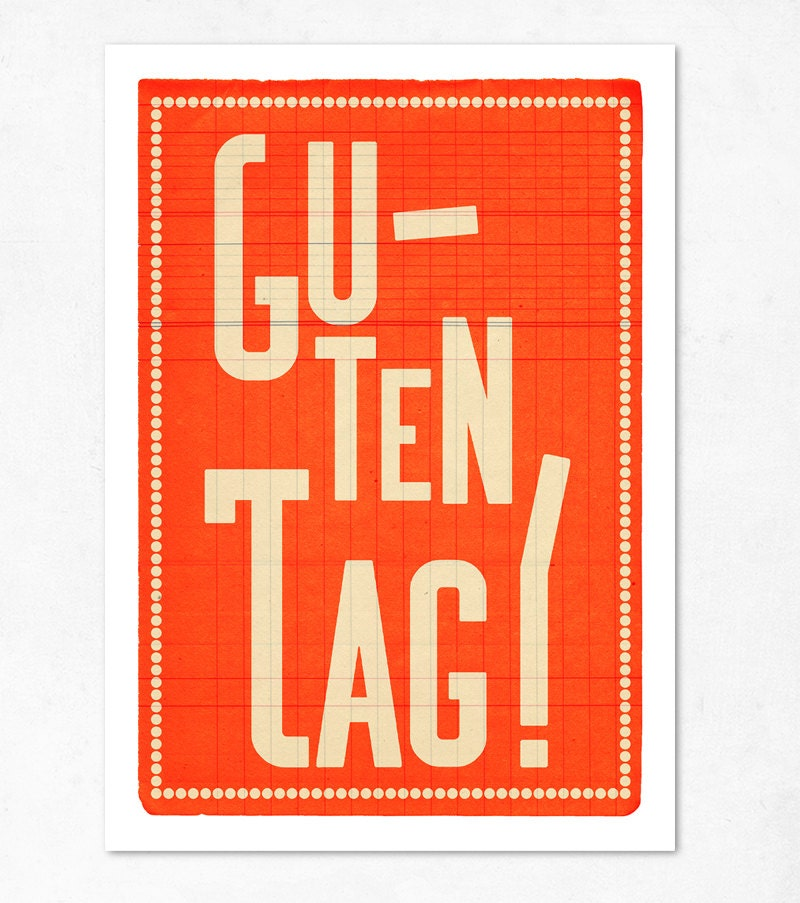 German large print 11.70 x 16.50 (A3). Guten tag orange. (Special spring offer: Get a geometric poster for free) - edubarba