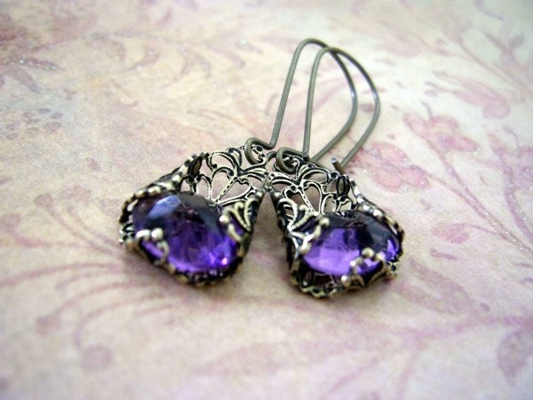 Victorian Drop Amethyst Earrings