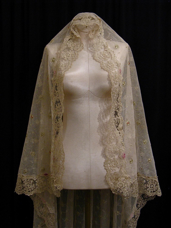 Last Veil Post I Swear - Pic Heavy :  wedding Il 570xN.125833684 Pale Gold Mantilla Veil RESERVED FOR MEELABEELA
