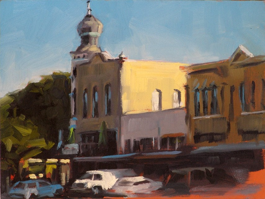 GEORGETOWN, TEXAS SQUARE -- original plein air oil painting