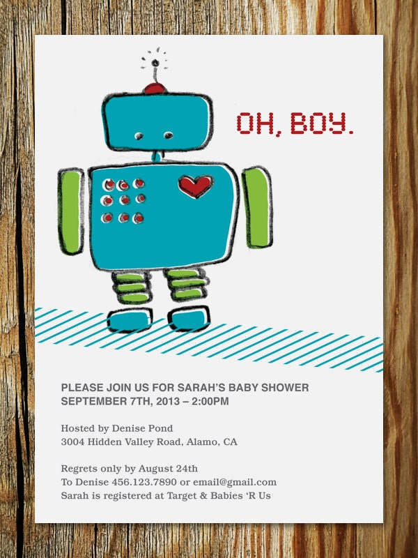 robot baby shower invitation printable by ericapaoli on etsy