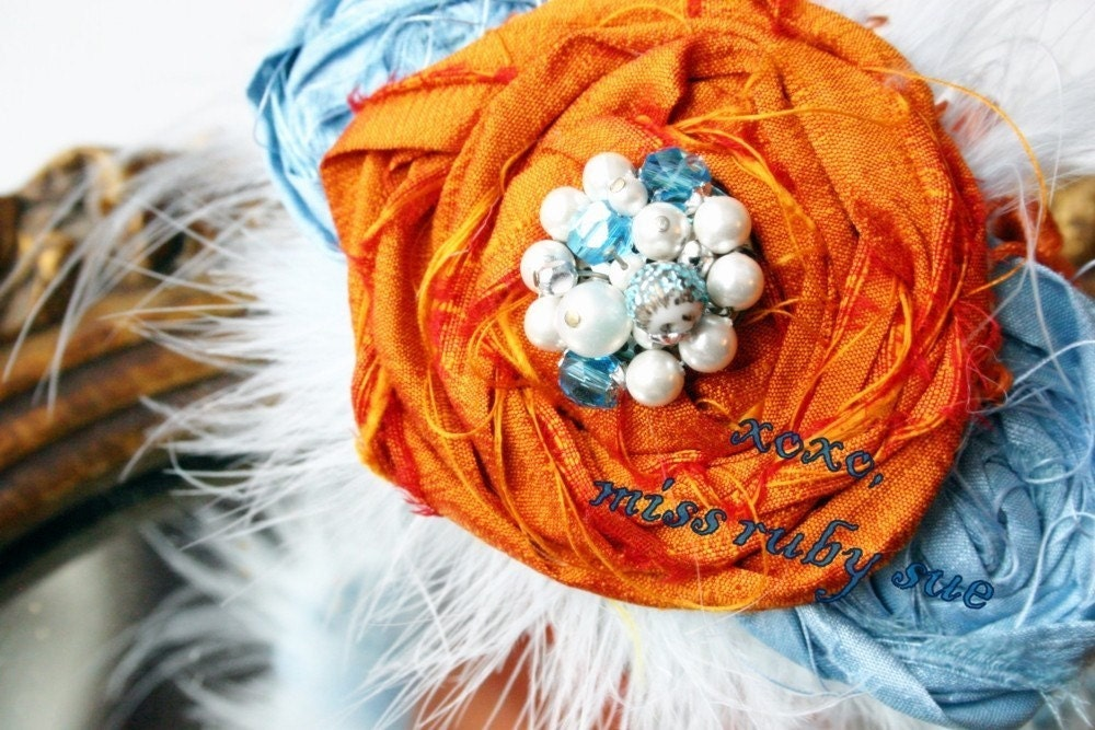 THE BELLA HAIRPIECE- Bright Tangerine and Breezy Blue for special occasions, avante garde, weddings, proms, parties and more, women and little girls
