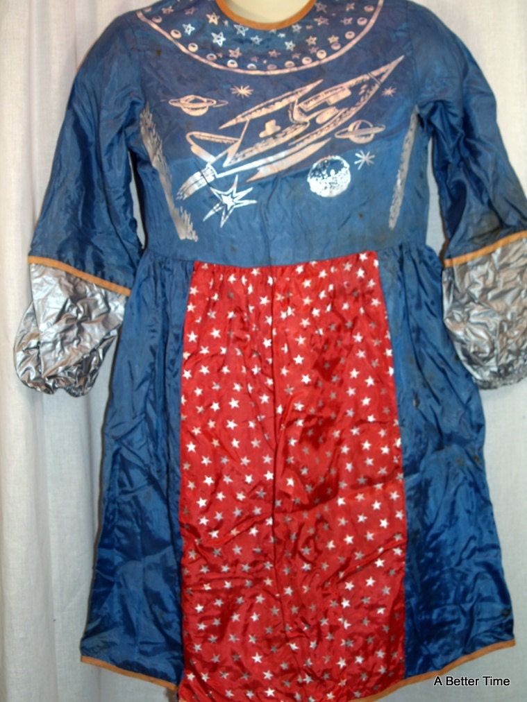 Vintage 1950's SPACEMAN ASTRONAUT Costume Halloween Outer Space Original children size medium Blue with silver glitter lightweight rayon - ABetterTime