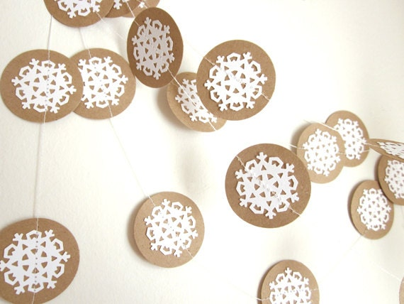 Christmas Snowflake Garland - Eco Garland - Eco Decoration - Rustic Garland - White Garland