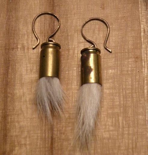 brass-bullet-shell-fur-puff-earrings