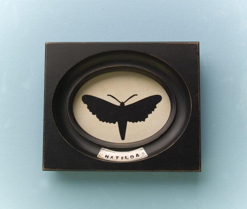 Matilda, framed moth silhouette art piece