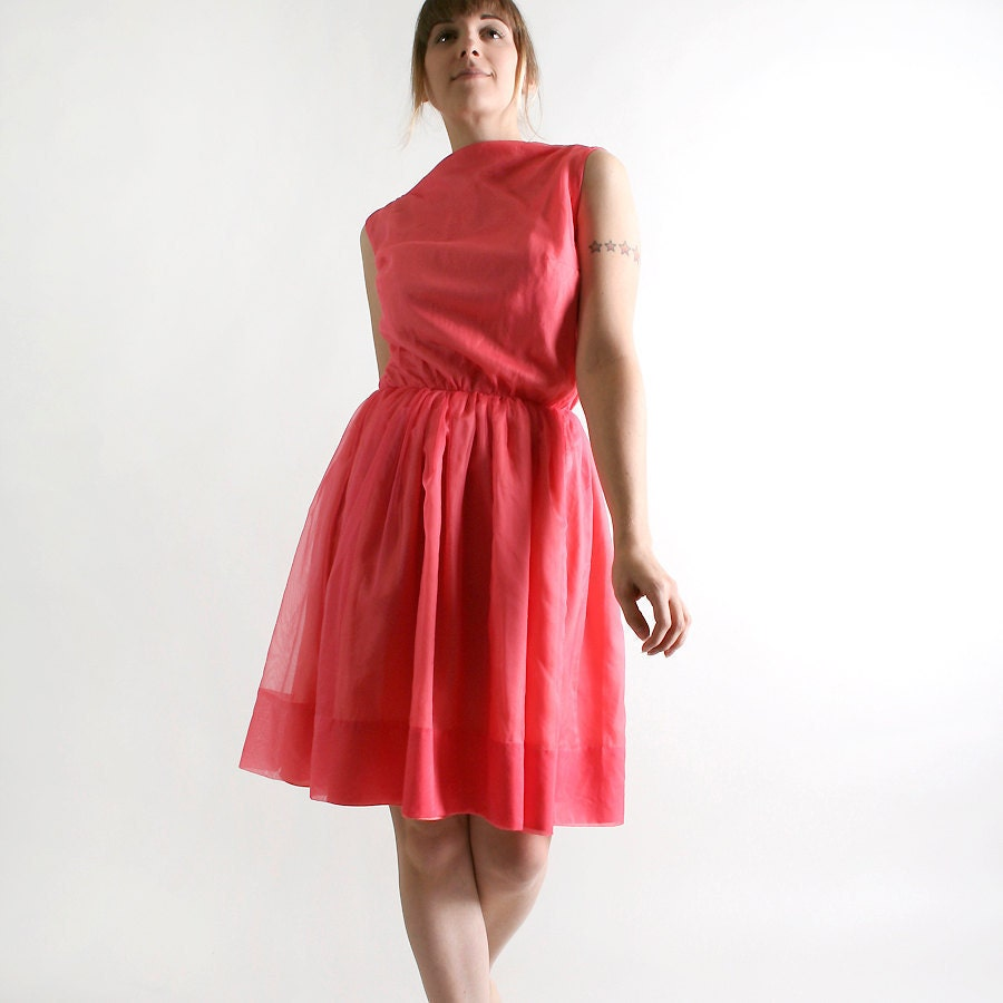Vintage 1960s Mini Dress - Coral Pink Chiffon Cocktail Dress - XS Small - Spring Fashion - zwzzy