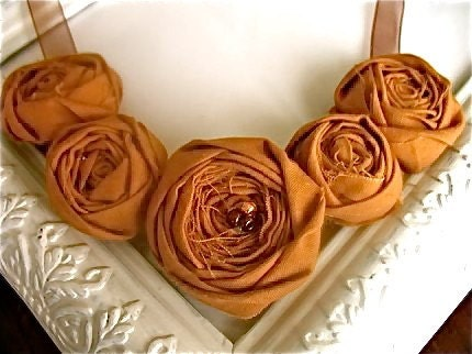 Spiced Cider fabric flower rosette bib necklace