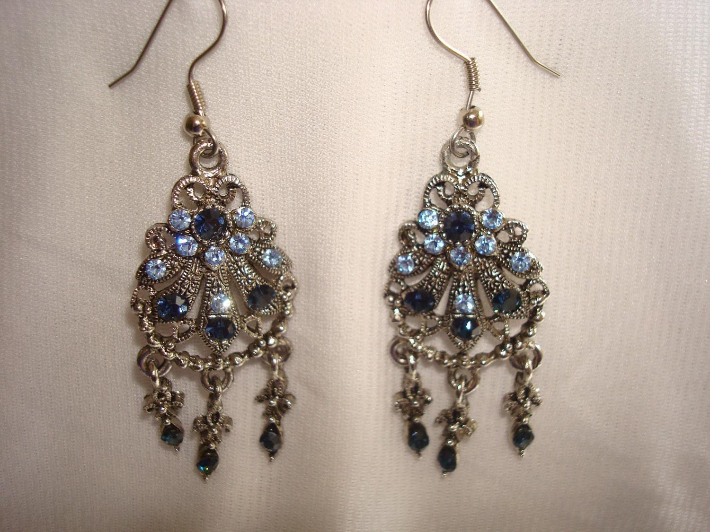 Blue chandelier Vintage Earrings