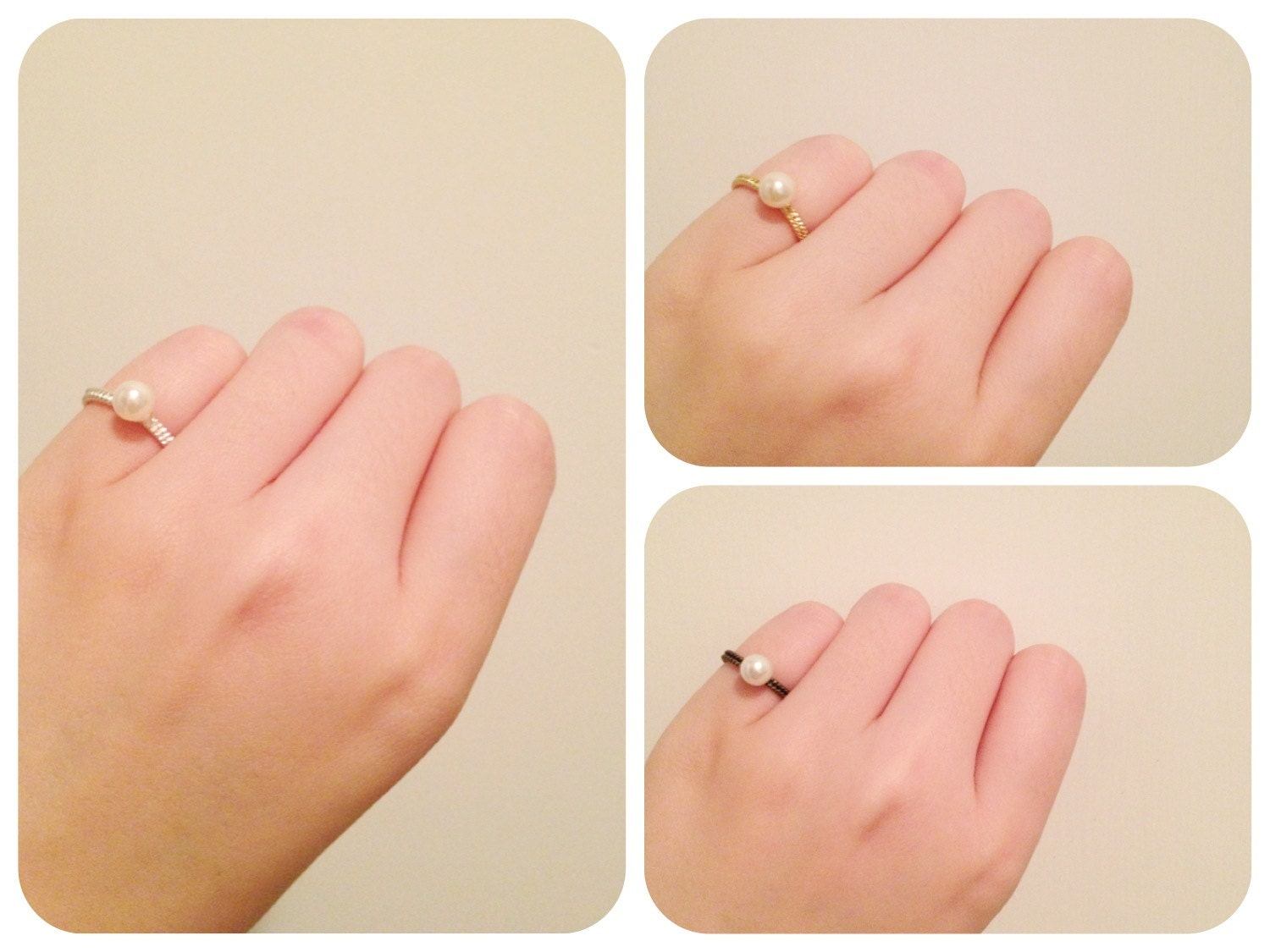 Small Gold / Silver / Bronze Pearl Ring for Small Finger, Spiral Pattern Ring, Pearl Ring Necklace, Pearl Ring Pendant