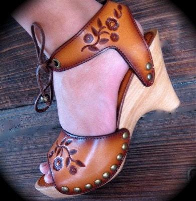 Florette Sandal Shoes in Tan CUSTOM ORDER