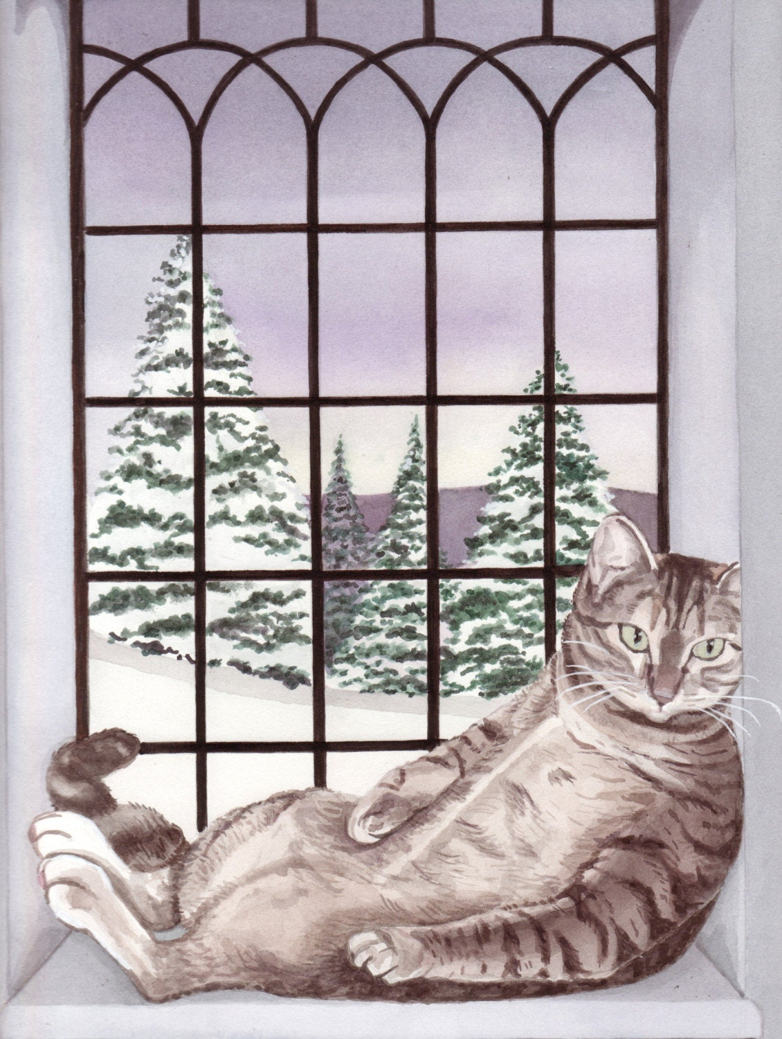 Baby, it's cold outside, but fat cat has warm window seat / Lynch folk art print