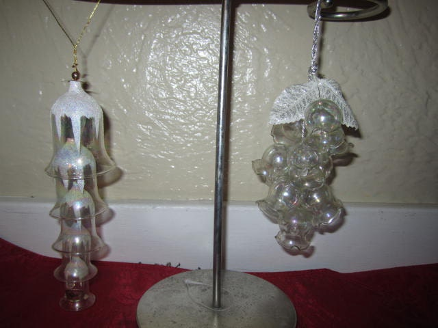 2 sets of glass bell ornaments vintage christmas by TheStorageGal