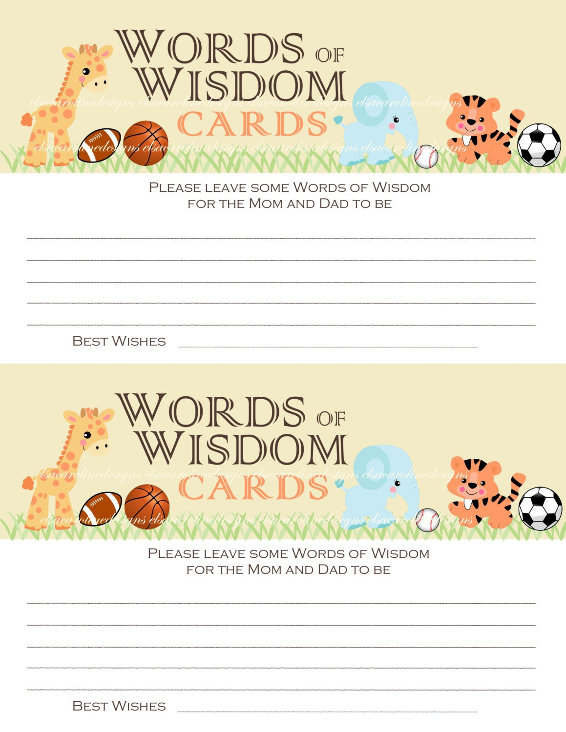 baby shower words of wisdom cards jungle by elsacarolinedesigns