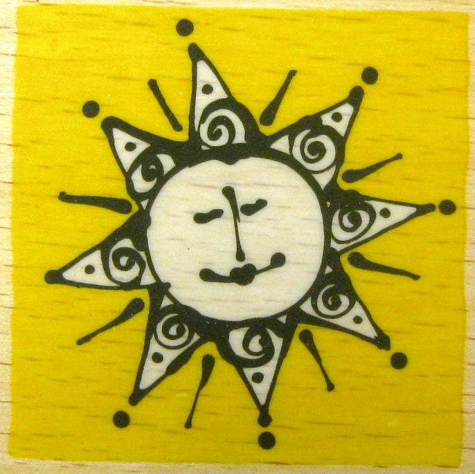 Smiling Sun rubber stamp - DoorNumberTwo