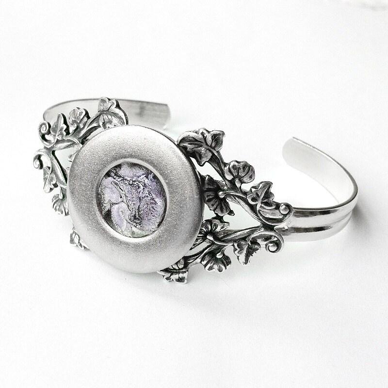 Silver Cuff Bracelet, Gothic Jewelry, Purple Bracelet, Rocker Bracelet, Thin Cuff Bracelet, Filigree Bracelet,