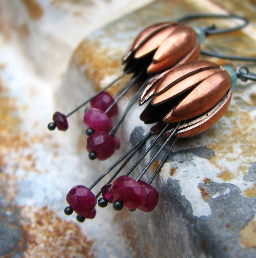 Forbidden Fruit - ruby and vintage brass flower earrings