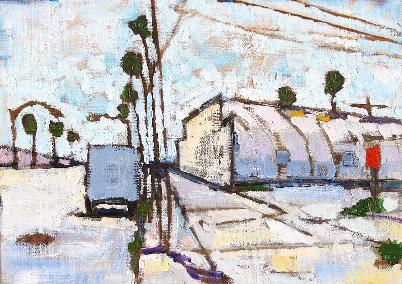 Quonset Hut and Palm Trees Painting