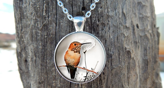 Brown Hummingbird Pendant - APendantInTime