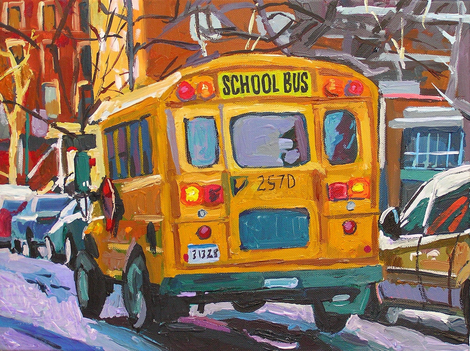 Yellow School Bus Fine Art Print 8x10, Painting by Gwen Meyerson