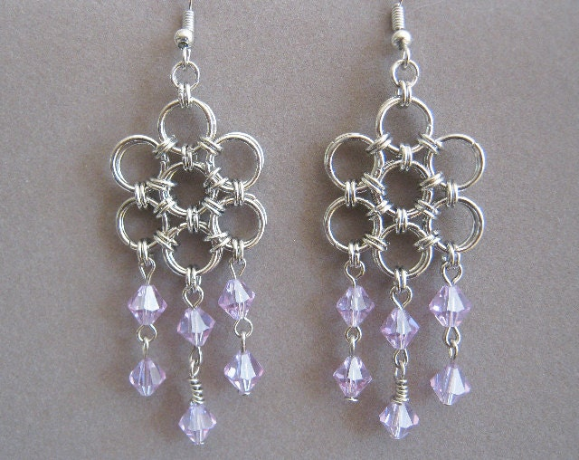 Daring Silver Plated and Black Glass Bead Chainmaille Earrings