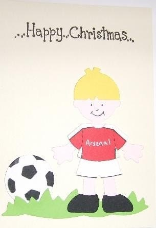 Christmas Card with Footballer in Arsenal FC by giftsbyjayne