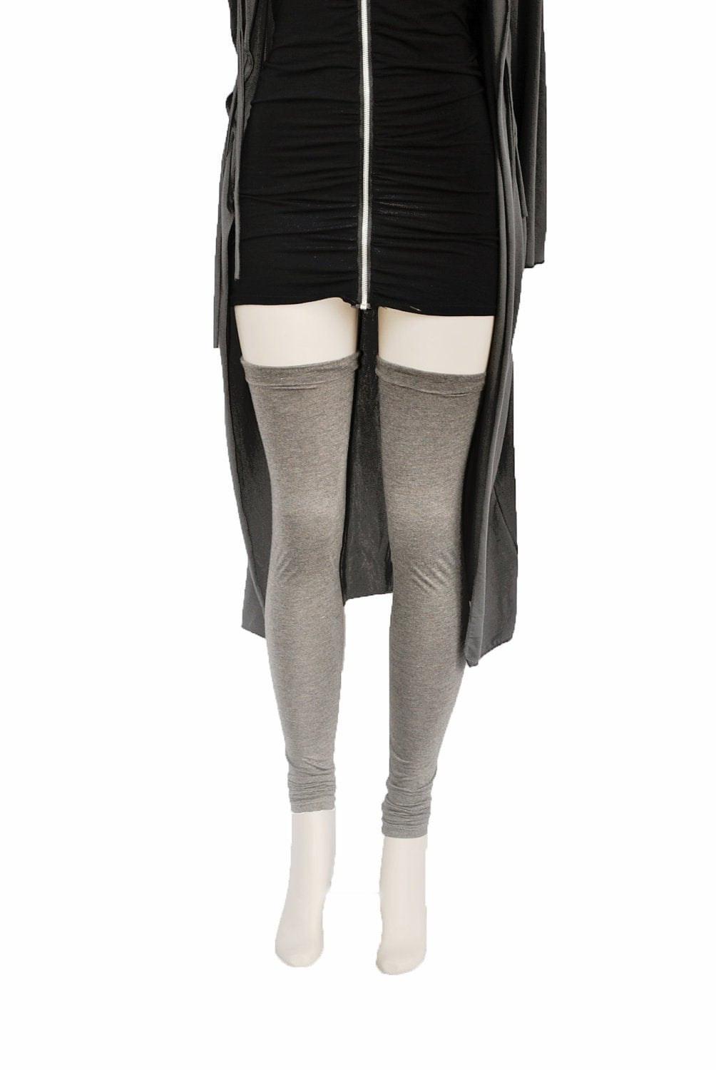 Thigh High Leg Warmers Heather Charcoal Womens Spring Cuffed and Ruched - FineThreadz