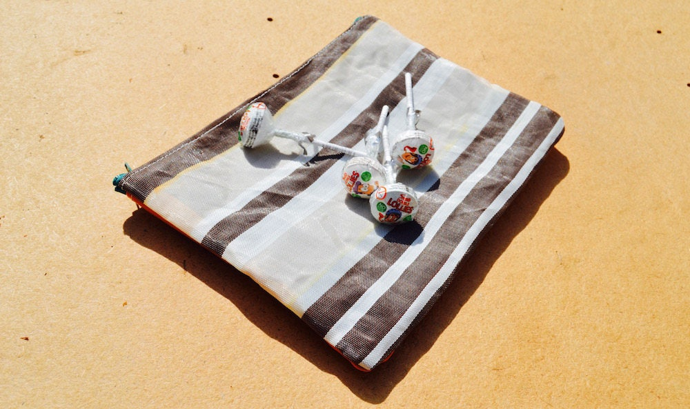 Handmade in the UK Upcycled Brown Stripy Vintage Deckchair Fabric Zipped Beach Pouch