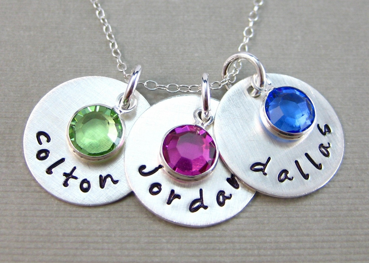 THREE NAME Charm Handstamped Personalized Sterling Silver Keepsake Necklace with a Birthstone
