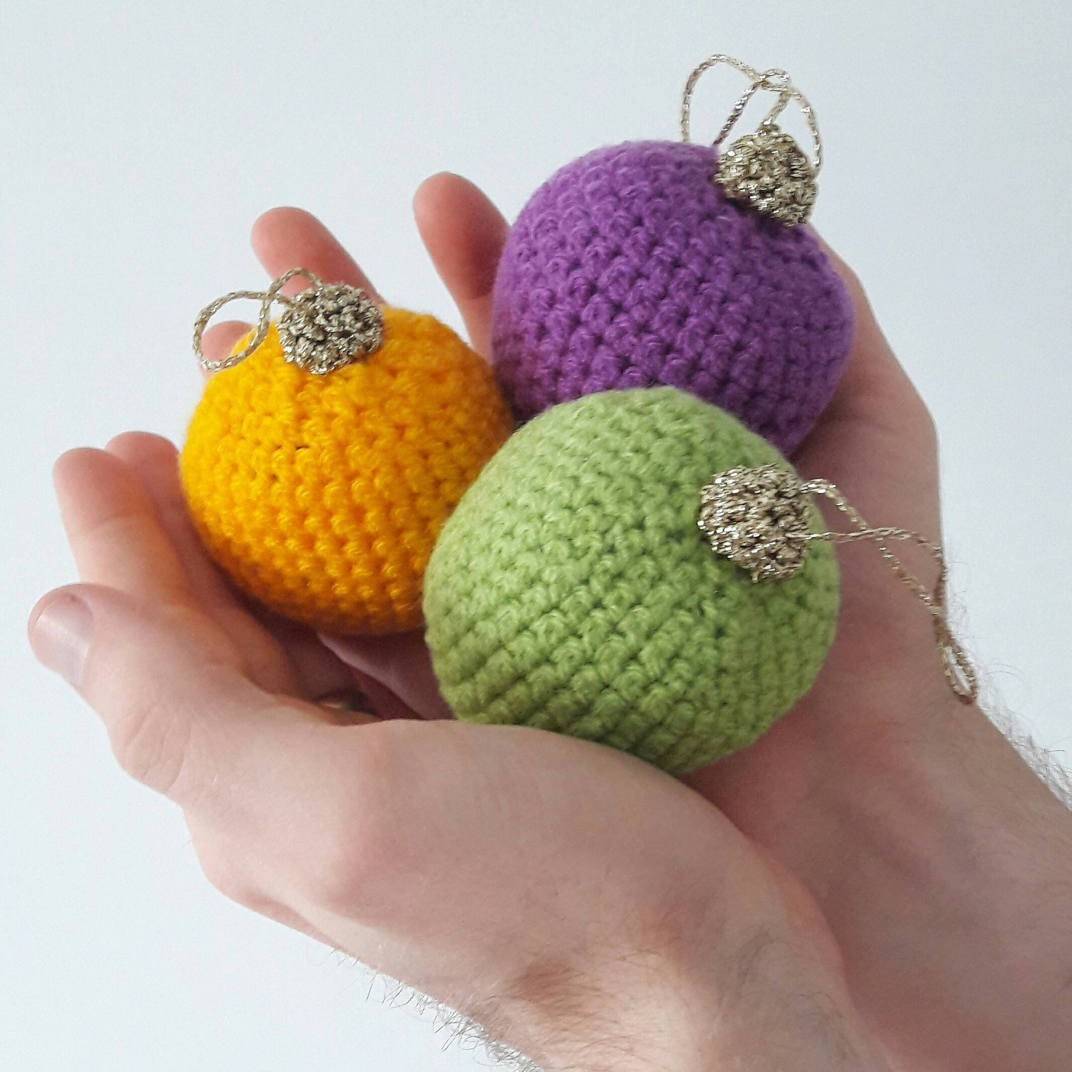 Set of 3 Block Colour  Decorative Crochet Christmas Baubles  Amigurumi Tree Decor  MADE TO ORDER