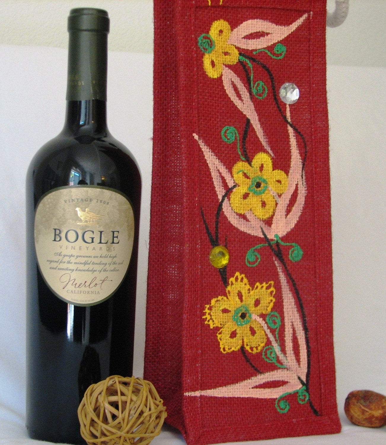 Handpainted Red Jute Wine/Bottle Bag