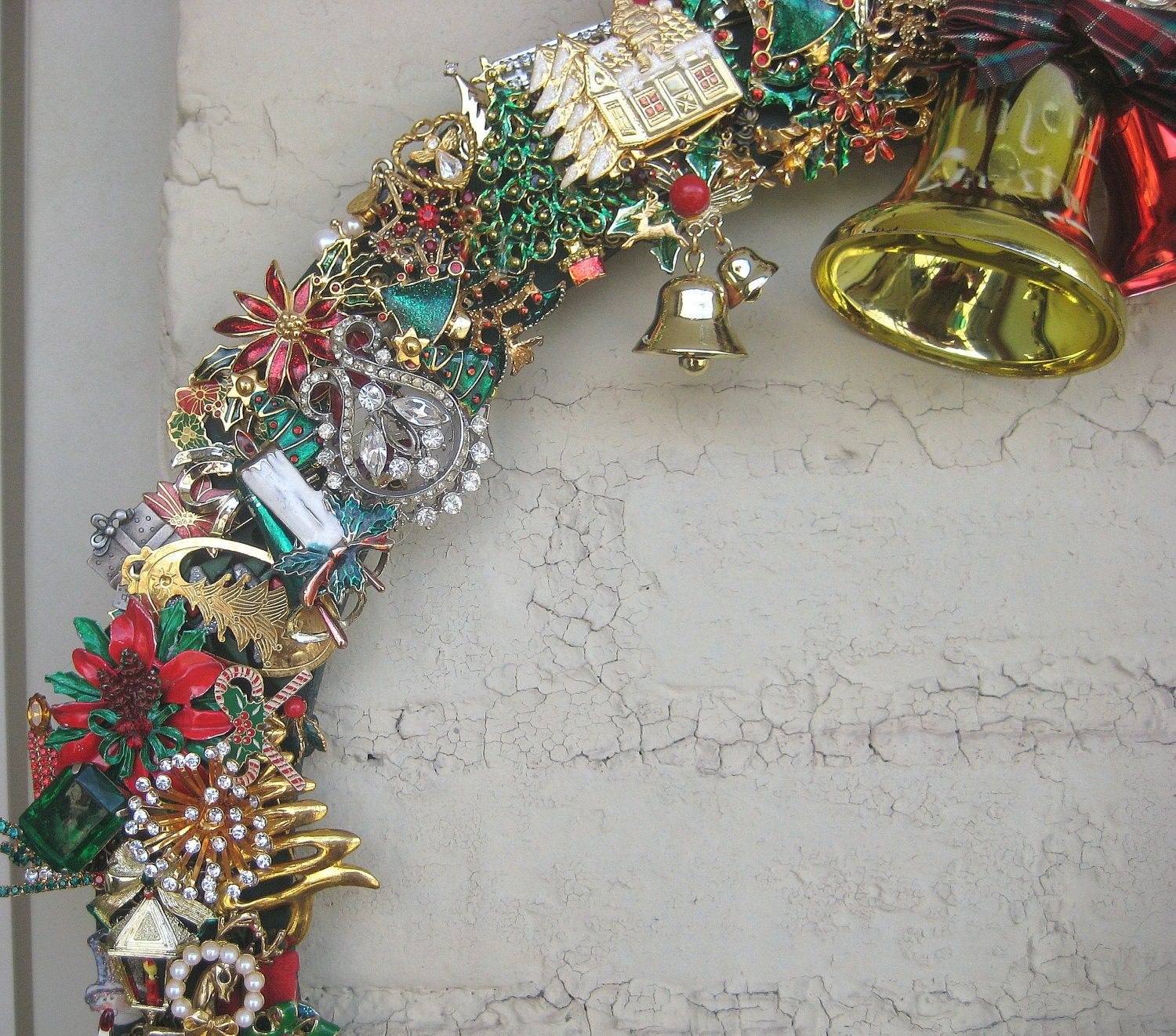 Wreath Christmas Holiday Vintage Brooches GIANT 18 inch  Repurposed Upcycled OOAK