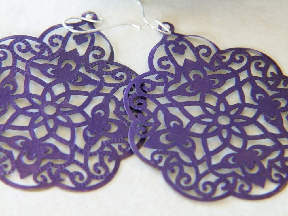 morocco. painted filigree and sterling silver earrings
