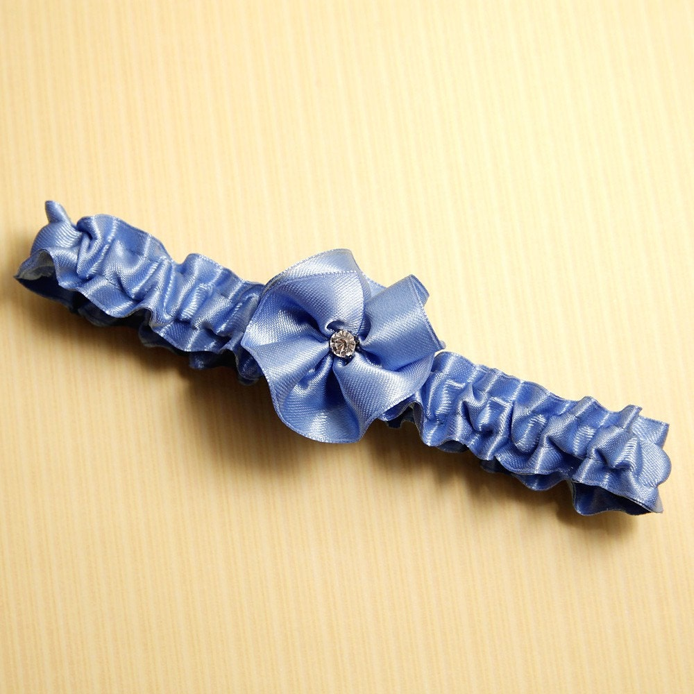 SM/MED David's Bridal Cornflower Blue Crystal Rosette Garter Other Colors Available