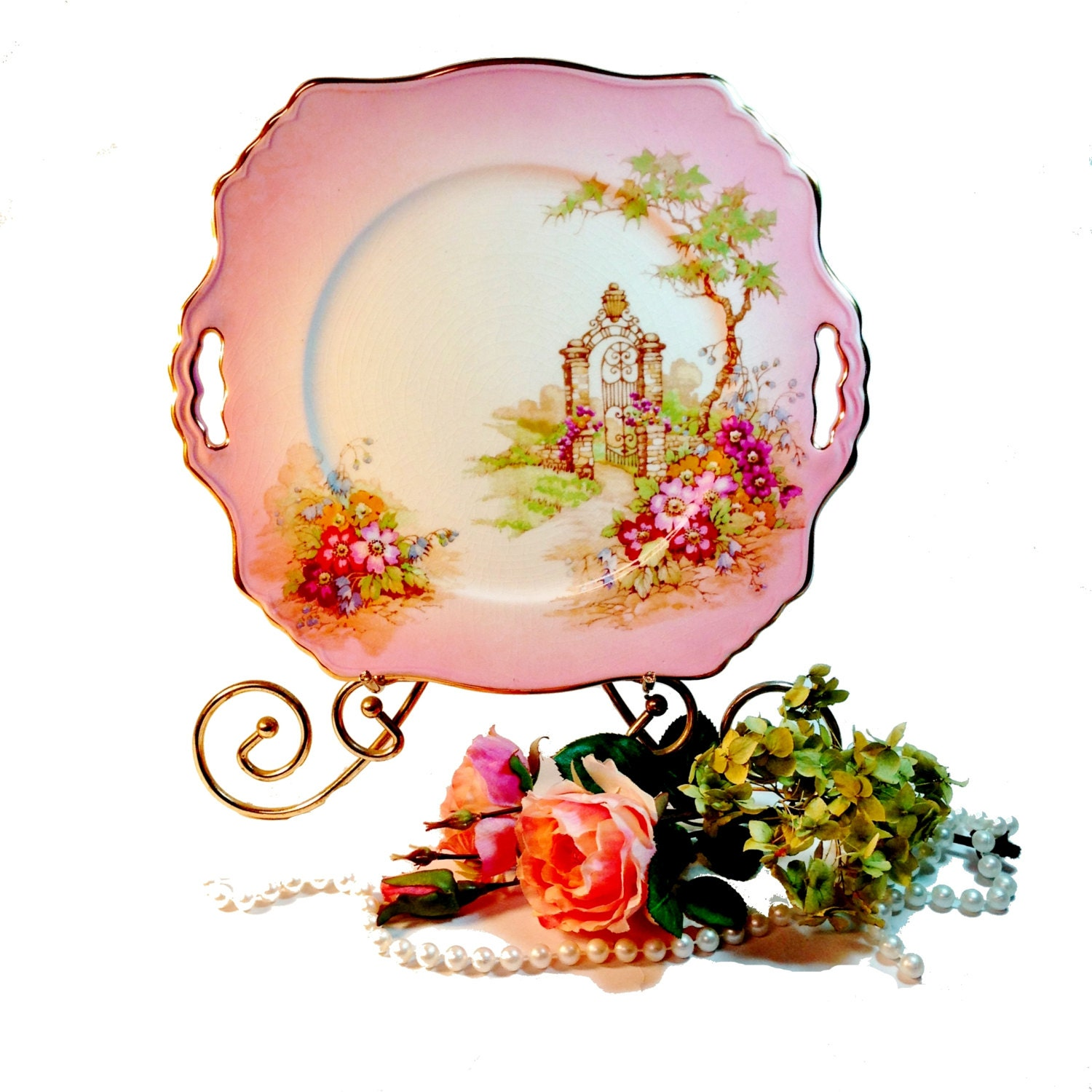 Vintage Pink Transferware Plate or Platter Gateway by Royal Winton, Valentine's Day Decor - northandsouthshabby