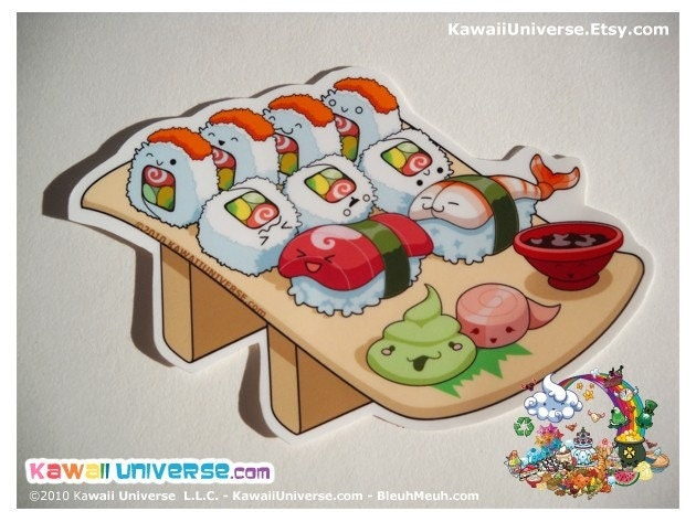 Kawaii California Roll and Nigiri Medium Vinyl Sticker Cling