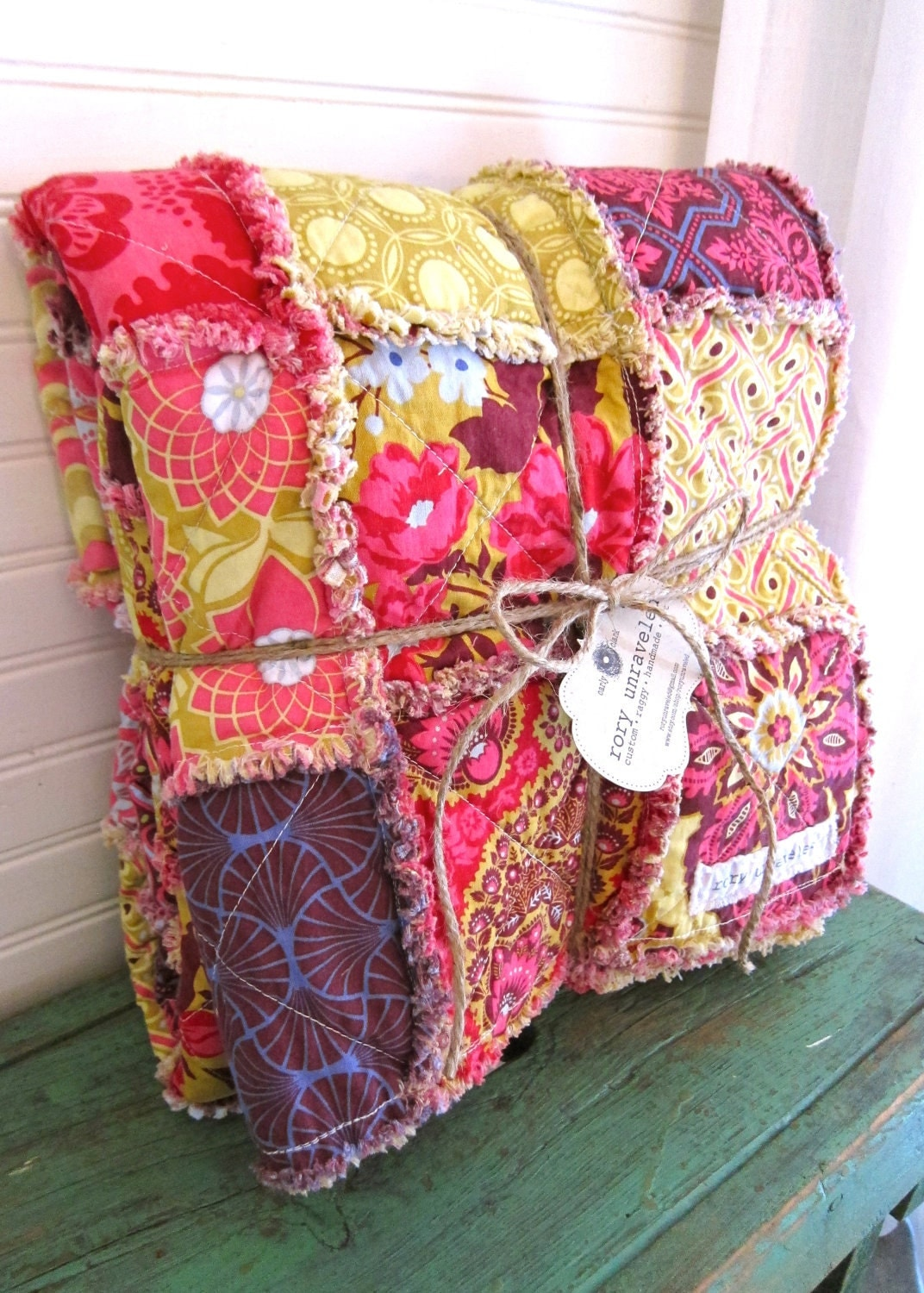 Rag Quilt CUSTOM Throw Reversible Any Color Any by roryunraveled