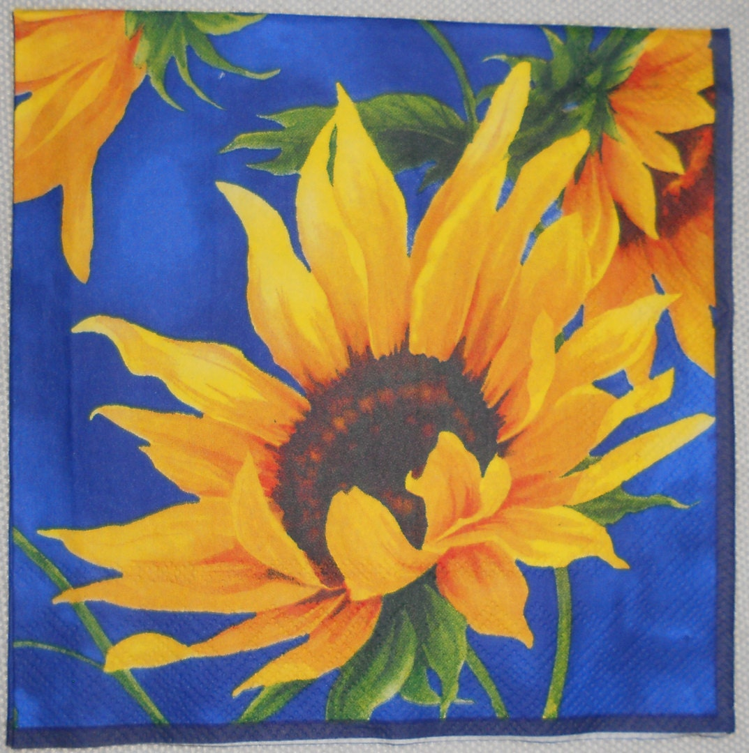 "Decoupage Paper Napkin for crafts, SUNFLOWERS and BLUE SKY napkin, Yellow and Blue Napkin, Quality Lunch size 1 13x13"" - DaisyFlowerPetal"
