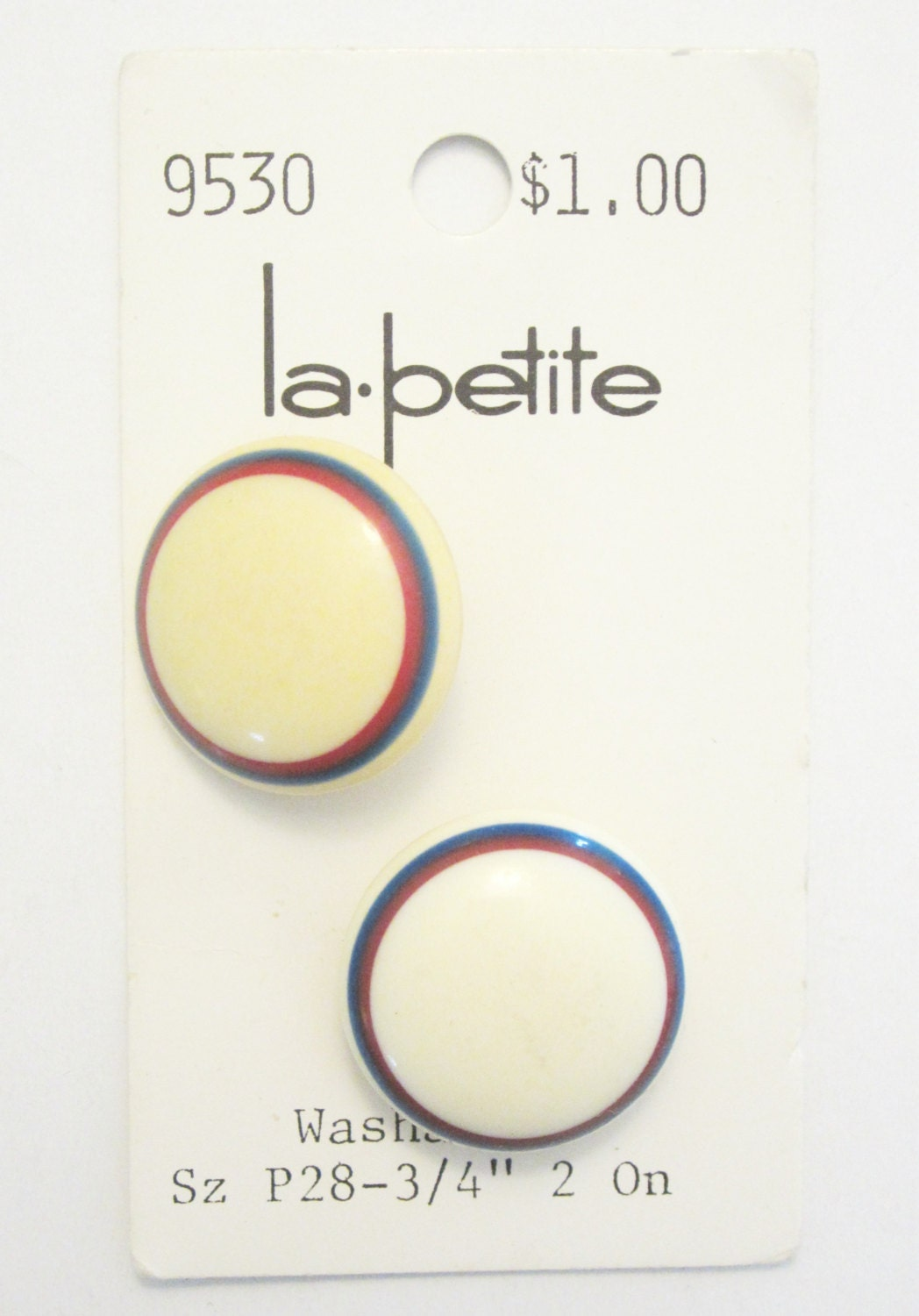 Pair of Vintage Red, White and Blue La Petite Buttons - plaidpearls
