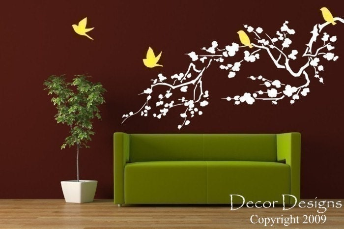 Birds Around the Cherry Blossom Branch