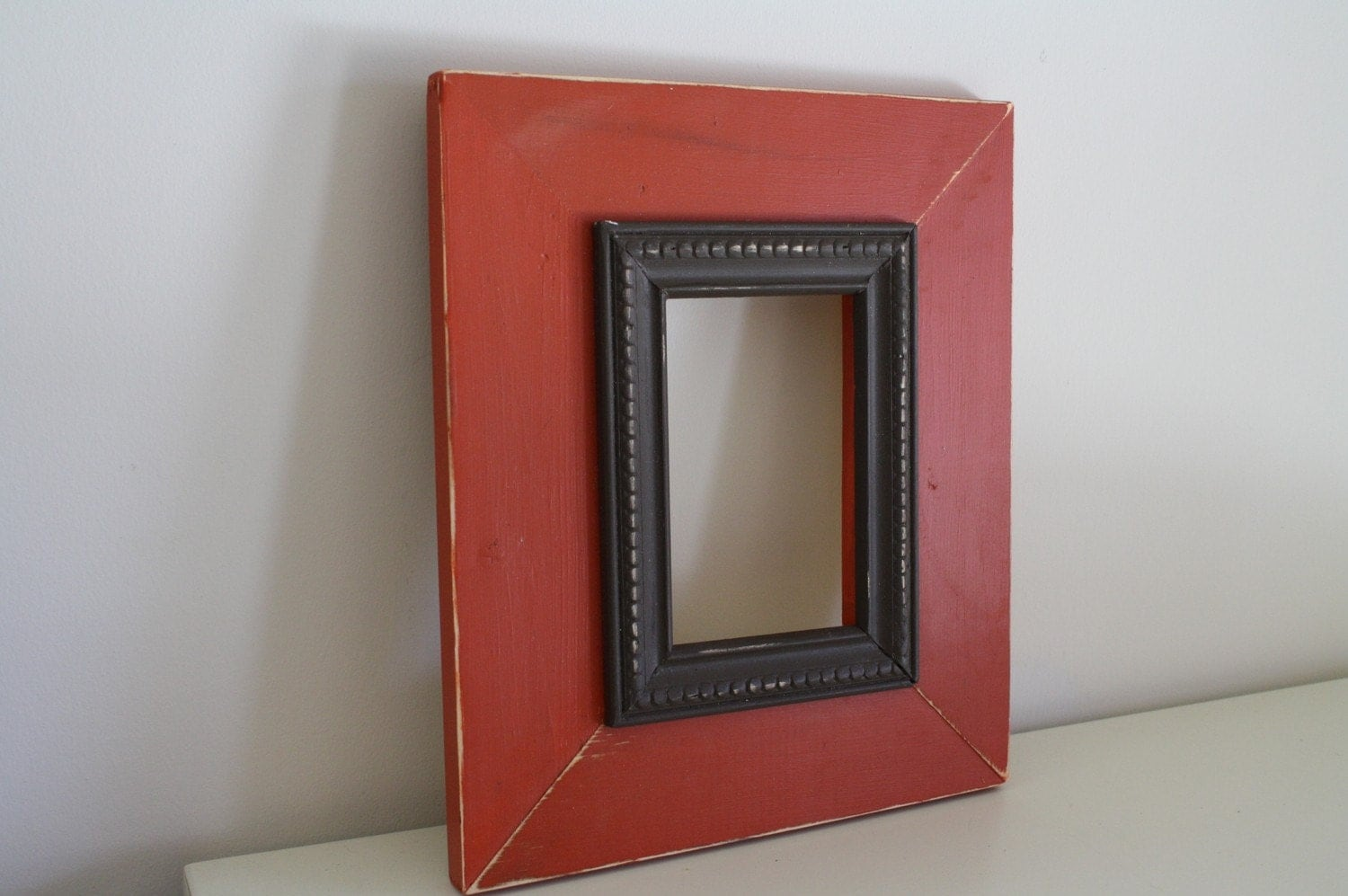 4x6 Rusty Red and Espresso Brown Distressed Picture Frame