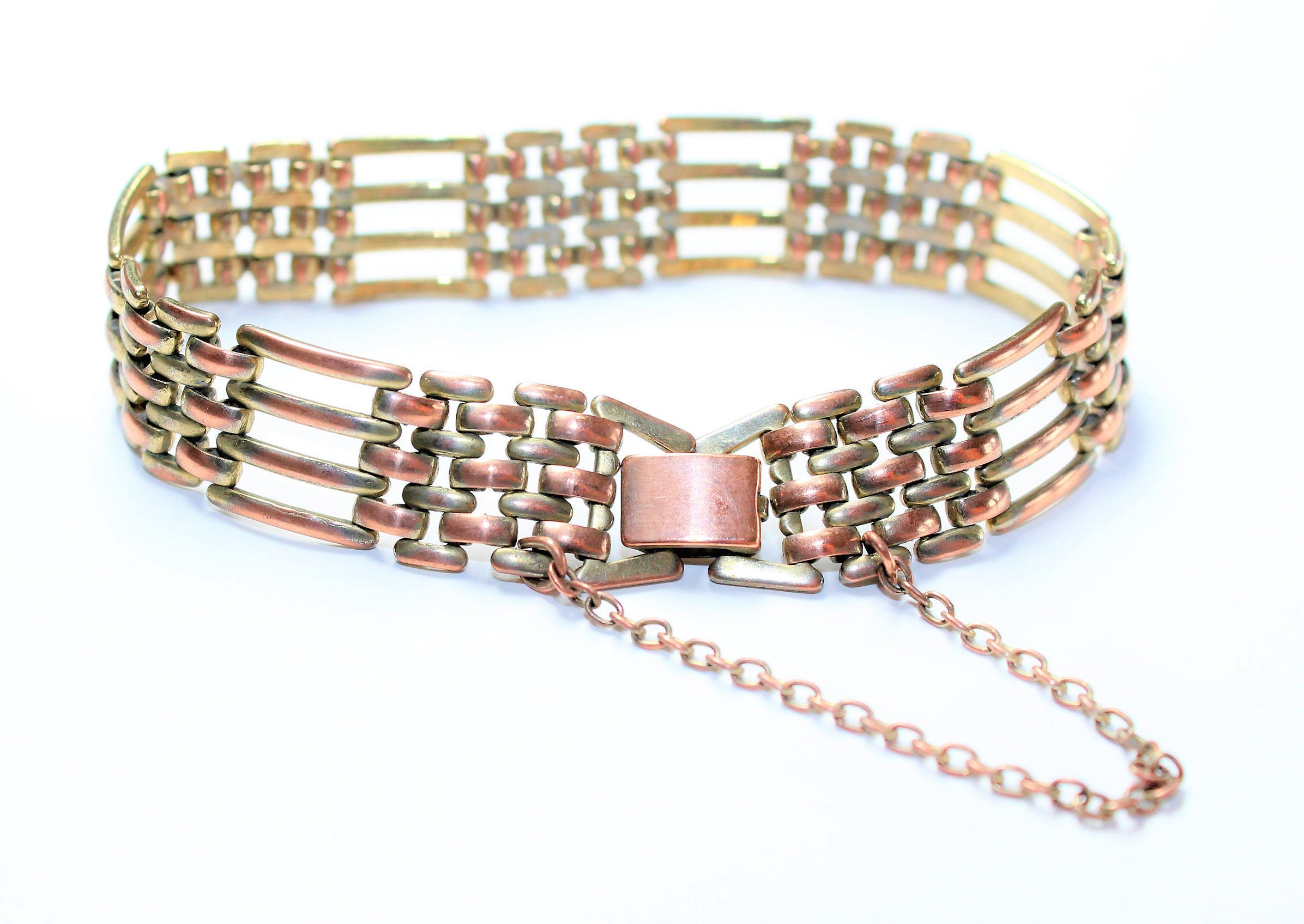 Antique Gold Coloured Copper Bracelet with Safety Chain (c1900s)