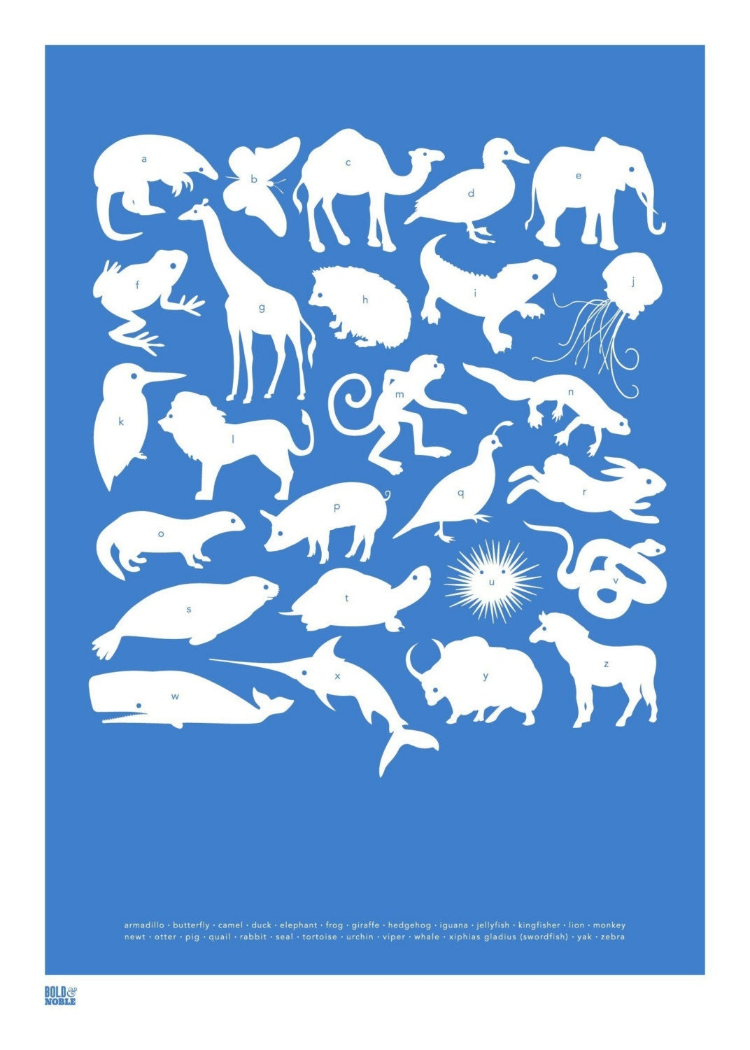 Animal A-Z Alphabet, hand pulled screen print onto 100 percent recycled card, cobalt blue (also in metallic silver and ruby red)