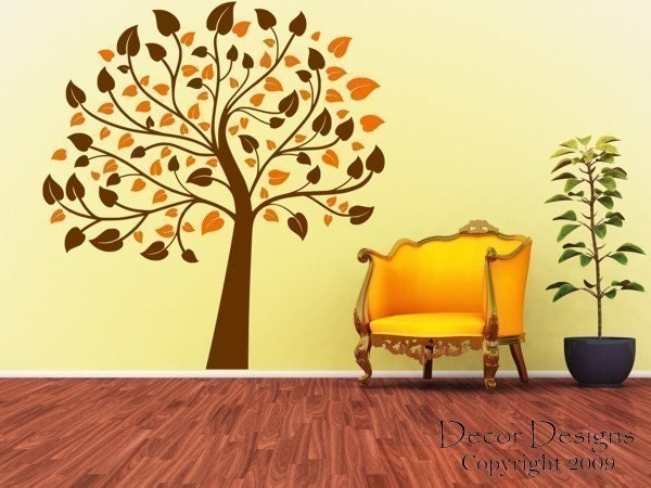 Two Color 6 Foot Nursery Tree Vinyl Wall Decal