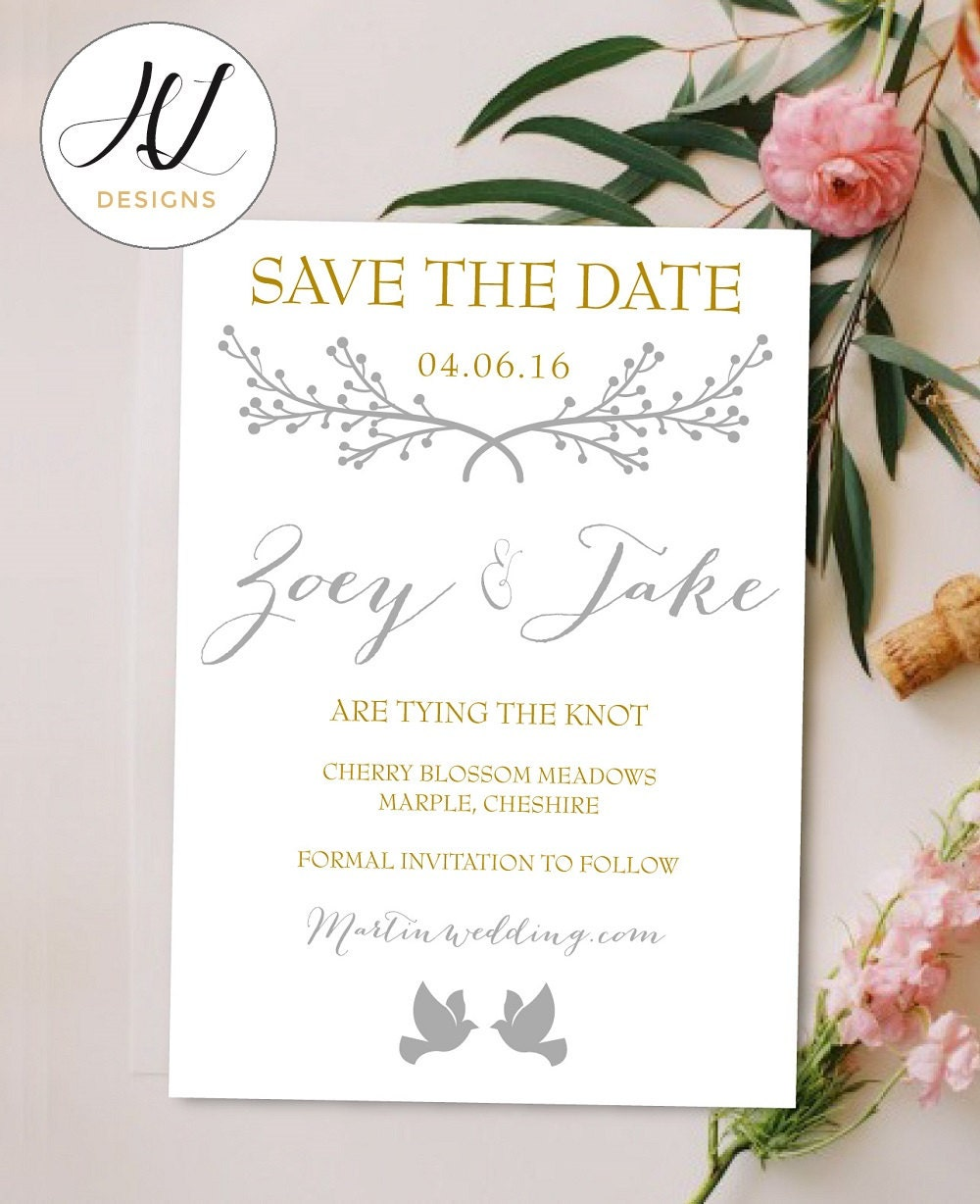 Personalised Printable SavetheDatePrintable Card  Zoey Collection